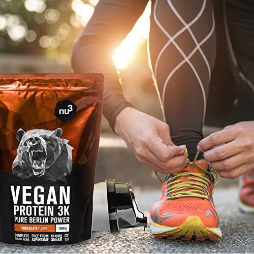 nu3 Vegan Protein 3K Proteine Isolate Vegetali in Polvere 1 kg - Polvere Proteica con Proteine da Piselli/Canapa/Riso Buona Solubilità - 70% Proteine - CS 137 Senza Aspartame - Gusto Cioccolato