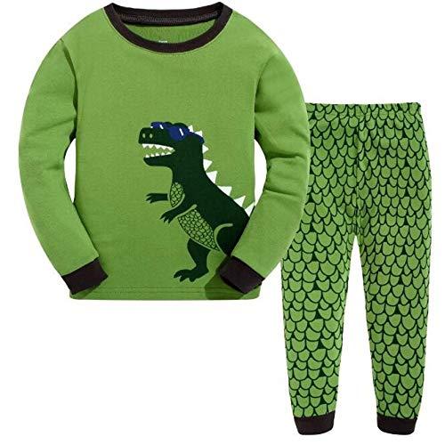 DELLOS Jungen Zweiteiliger Schlafanzug Baumwolle Lange Nachtwäsche Kinder Pyjama,Crocodile-2T
