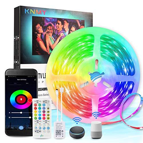 WiFi LED Streifen 5M, KNMY Musik LED Strip Lichtband Kompatibel mit Alexa, Google Assistant, RGB IP65 Wasserdicht LED TV Hintergrundbeleuchtung, APP Steuerbar für Haus, Küche, TV, Party Dekoration