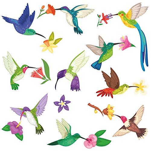 younikat 20er Set Fensterbild Kolibri mit Blumen I Vögel beidseitig bunt I Fenster-Aufkleber statisch haftend I selbstklebend wiederablösbar I dv_861