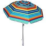 AMMSUN 7ft Beach Umbrella Portable Outdoor Patio Sun Shelter UV 50+ with Sand Anchor & Tilt Aluminum Pole with Carry Bag for Beach Patio Garden Outdoor Multicolor Green