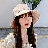 Sombrero De Playa para Verano Mujer Sombrero De Cubo Plegable Color Sólido ala Ancha Anti-UV Playa Algodón Sombreros para El Sol Mujer Panamá Sombrero De Pescador Aceitunas Ve