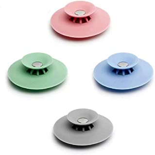Shower Drain Stopper Hair Trap Hair Catcher,2-in-1 Strainers Protectors Cover for Sewer,Floor,Laundry,Kitchen and Bathroom,Bathtub Drain,Silicone,4-pcs