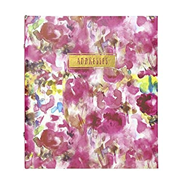 C.R. Gibson Refillable Address Book, Measures 6.5 x 7.25  - Painterly Floral