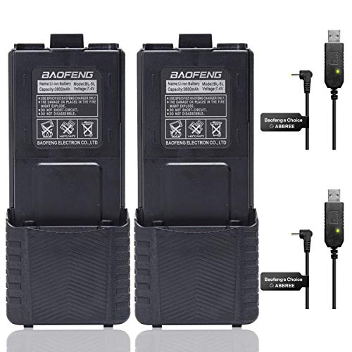 2Pack Baofeng BL-5 3800mAh Extended Battery for Baofeng Walkie Talkie UV-5R BF-8HP UV-5RX3 RD-5R UV-5RTP UV-5R MK2 MK3X MK5 Plus UV-5RE Etc (2Pack 3800mAh Battery+ USB Charger Cable)