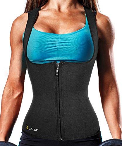 Junlan Body Fat Burner Slim Tummy Shaper Waist Trainer Vest with Zipper for Weight Loss Women Tank Top Corset (Black, XL)