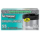 Ultrasac Heavy Duty 55 Gallon Trash Bags - (Large 50 Pack /w Ties) - 2 MIL Industrial Strength Plastic Drum Liners 38' x 58' Professional Black Garbage Bags for Construction, Contractors