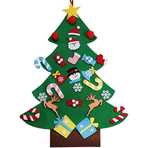 XONOR Albero di Natale in Feltro Fai da Te con Ornamenti per Bambini, Regali di Natale, Decorazioni per Appendere Le pareti di Capodanno (A)
