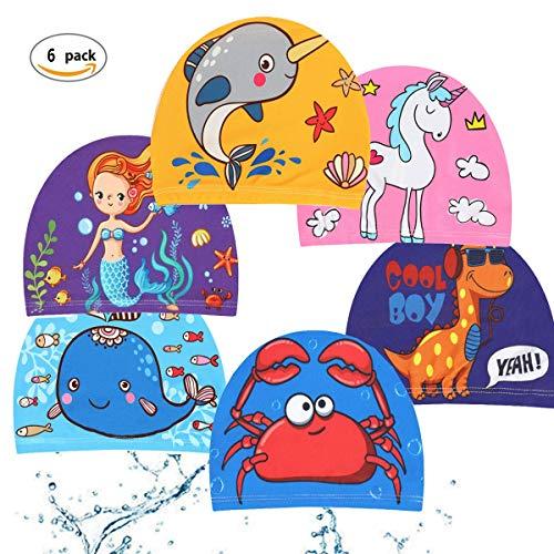Cuffia Da Nuoto Bambini,Saijer Cuffia Da Piscina Impermeabile Cura Dei Capelli Per Sport Acquatici Bambini Ragazzi Ragazze Kids Swim Cap Cuffie 6 CPS Nuoto