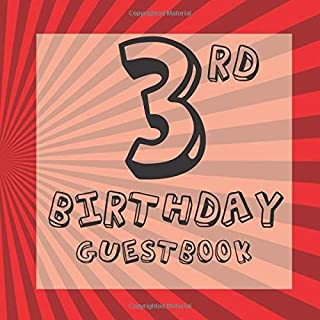 3rd Birthday Guestbook: Red Comic Superhero Themed - Third Party Baby Anniversary Event Celebration Keepsake Book - Family Friend Sign in Write Name, ... W/ Gift Recorder Tracker Log & Picture Space