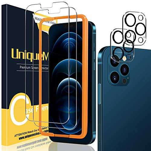 UniqueMe [2+2 Pezzi] Vetro Temperato Compatibile con iPhone 12 Pro 6,1 Pellicola Protettiva + [Bubble-Free] Pellicola Fotocamera Compatibile con iPhone 12 Pro 6.1 [Facileinstallare][Durezza 9H].