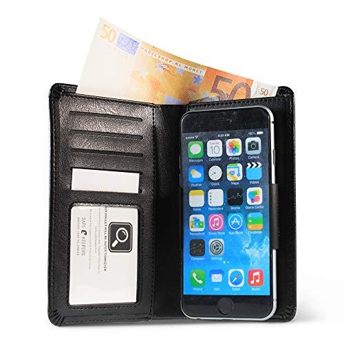 Universele smartphonehoes met vakjes voor geld en kaarten