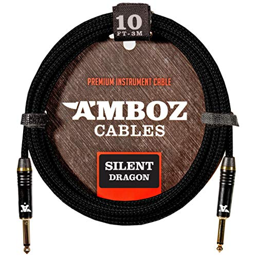 Silent Dragon Instrument Cable - Noiseless for Electric Guitar and Bass - TS 1/4Inch Silent Gold Plated Plugs (10 FT/Straight - Straight)