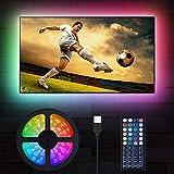 LED TV Hintergrundbeleuchtung, MustWin 3M USB RGBW Beleuchtung für 32-60 Zoll LED Strip Dimmbar mit RF-Ferbedienung 6000K Kaltweiß, 6 Modi SMD 5050 für Fernseher PC Monitor Haus Weihnachten Deko