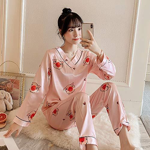 QWKLNRA Conjunto Pijama Seda Mujer,Conjunto De Pijama De Seda Rosa con Estampado De Lechones para Mujer, Traje De Casa De Manga Larga, Ropa De Estar/para Todas Las Estaciones, XL