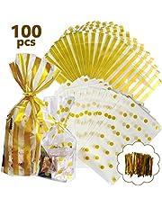 YANSHON Bolsas de Celofan Regalos Bolsas Regalos Cumpleaños 100pcs Bolsas Caramelos Bolsas Sobres de Comida Bolsas Dulce Bolsa de Confeti, Doradas con Lunares y Tiras Transparentes con Cierre Dorado