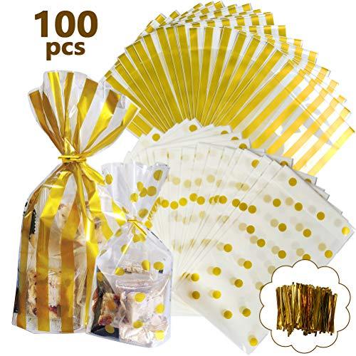 YANSHON 100 Stücke Klar Plätzchentüten, Süßigkeitentüten, 15x25cm Cello Taschen mit Twist Krawatten, Bodenbeutel, Keksbeutel (Polka Dot und Streifen) für Lollipop Sticks, Candy, Hochzeit, Geschenke