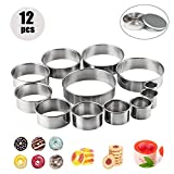 Stainless Steel Mini Cookie Cutters, Set of 12 Round Plain Food & Biscuits Mold for Icing Pastry Sugarcraft Cake Decoration