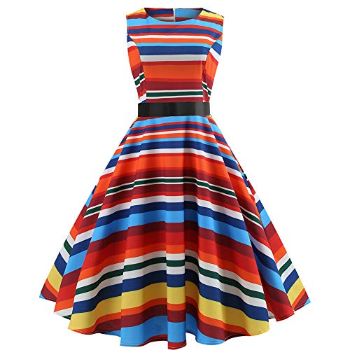 Kleid Damen Kolylong Frauen Elegant Regenbogen Ärmellos Kleid Knielang Vintage Hohe Taille Bunt Kleid Retro Prom Swing Kleid Rockabilly Ballkleid Cocktail Party Abendkleid Faltenrock (XXL, Multicolor)