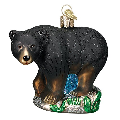 Old World Christmas Ornaments: Wildlife Animals Glass Blown Ornaments for Christmas Tree, Black Bear
