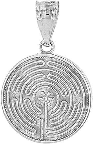 LBBYMX Co.,ltd Collar de Moda Chartres Laberinto Delicada Disco Locket 14k Colgante de Oro Blanco sólido