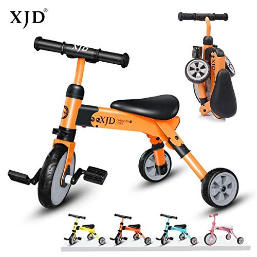 XJD 2 en 1 Vélo Bébé Tricycle Enfants de 2-4 Ans Draisienne Fille garçons Premier Vélo Pliable 3 Roues avec Pédale Cadeau Anniversaire