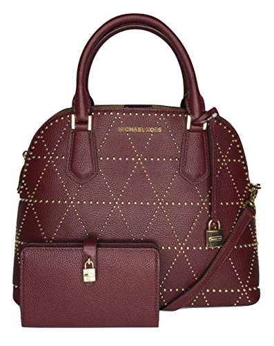 Bundle of 2 items: MICHAEL Michael Kors Adele Large Dome Satchel bundled with Michael Kors Adele Slim Bifold Wallet Double top handles, zip top closure leather dome satchel, gold/silver hardware, front logo plate and lock Interior : one main compartm...