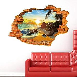 Sunshine Beach Palm 3D Creative Wall Sticker Removable PVC Home Decoration DIY Wallpaper