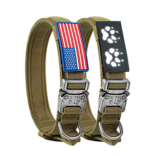 Tactical Dog Collar Military Dog Collar with Handle Nylon Thick Adjustable K9 Collar with USA American Flag & Reflective Patch, Training and Service Dog Collar for Medium Large XL Dogs(M, Brown