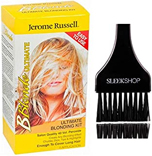 Jerome Russell B BLONDE Ultimate Blonding Kit, Be Blonde Salon Quality 40 Volume Peroxide (w/Sleek Brush) Highlights, Easy to Use, Long Hair (1 APPLICATION)