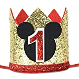 Mickey Mouse Party Hat, First Birthday Crown, 1st Birthday Party Photoshoot Photoprop hat (Birthday Hat Gold 1, Elastic Strap)