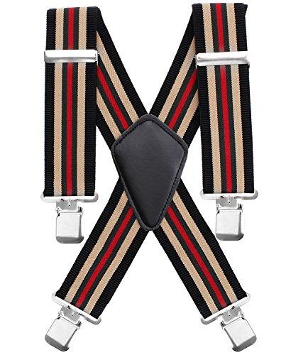 Chalier Hosenträger Herren elastische5cm breite 4 Starken Clips X-Form, mit verschiedenen klassischen Farben für alle Stile, bei Alltag, Arbeit, Bankett, Party