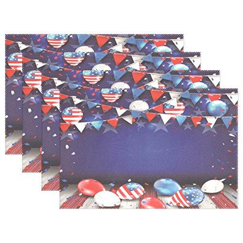ALAZA Platzsets, 1 Stück, Unabhängigkeitstag Bunte Vorlage für amerikanische Luftballons, Waschbare Tischmatte für Küche Esstisch 30,5 x 45,7 cm, Polyester-Mischgewebe, Multi, 12x18 inch
