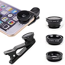 Christmas 2018 - Cell Phone 3-1 Camera Lenses for iPhone, Samsung, Android, HTC, Smart Phone, Tablets, iPad, and Laptops,Perfect Stocking Stuffers, Secret Santa Gift (Colors Vary)
