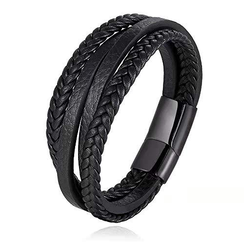 GazyShop - Pulsera de cuero negro multicapa con hebilla magnética de acero inoxidable de 21 cm de largo, incluye caja de regalo