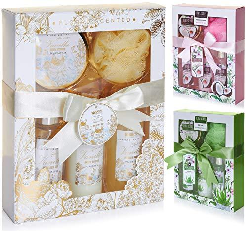 BRUBAKER Cosmetics Set de Baño y DuchaVanilla Rose Mint - Fragancia de Vainilla Roses Mint - Juego de 5 piezas para regalo