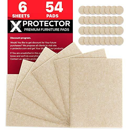 Fieltro adhesivo X-PROTECTOR – Deslizadores para muebles – Premium 6 fieltro autoadhesivo 20x16cm & 54 Almohadillas de fieltro - X-PROTECTOR adhesivos fieltro es el producto que necesita!