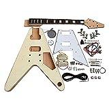 Coban Guitars Electric Guitar DIY Kit FV1W Flamed Maple Chrome White Pick Guard
