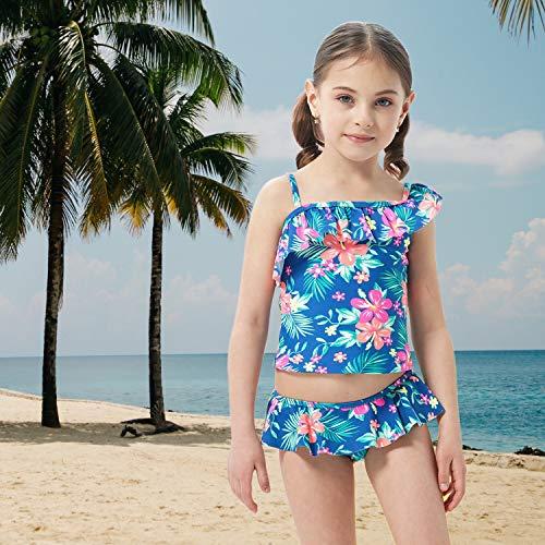 Big Girls Two Piece Tankini Swimsuit Hawaiian Ruffle Swimwear Bathing Suit Set Blue Size 8/8T