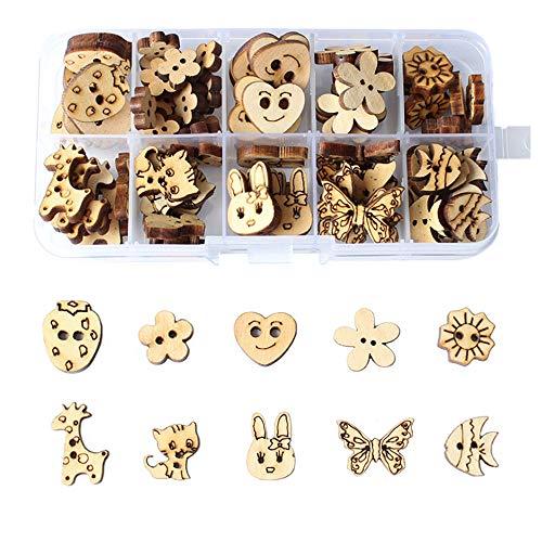 Zasiene Botones de Madera Natural 100 Piezas de Botones Decorativos de Madera en Caja 10 Estilos Artesanía Botones para Bricolaje Costura Decoraciones Accesorios