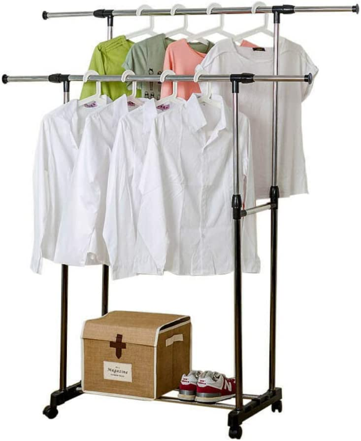 Double Garment Rack Shelf Adjustable Rolling Limited time sale Long-awaited Ha Clothes Scalable