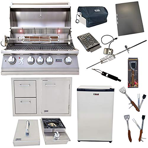 Lion Premium Grills 32-Inch Natural Gas Grill L75000 with Single Side Burner, Eco Friendly...