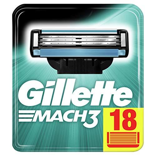 Gillette Mach3 Lamette di Ricambio per Rasoio Uomo, Confezione da 18 Lamette