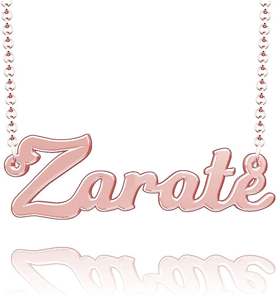 LoEnMe Jewelry Personalized Zarate Name Necklace Stainless Steel Plated Custom Made of Last Name Gift for Family