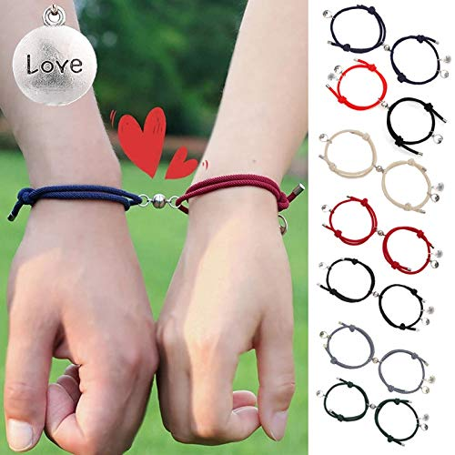 Set of 2 Magnetic Bracelets for Couples Friendship Promise,Mutual Attraction Relationship Matching Bracelet Set Rope Braided Bangle with Love Charm Jewelry Set for Women Men Mom Kids Birthday Gift