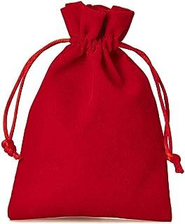 12 bolsitas de terciopelo con cordón para cerrar, tamaño 23x15 cm, bolsa para regalos de navidad, cumpleaños, joyas y otros detalles hechos a mano (rojo)