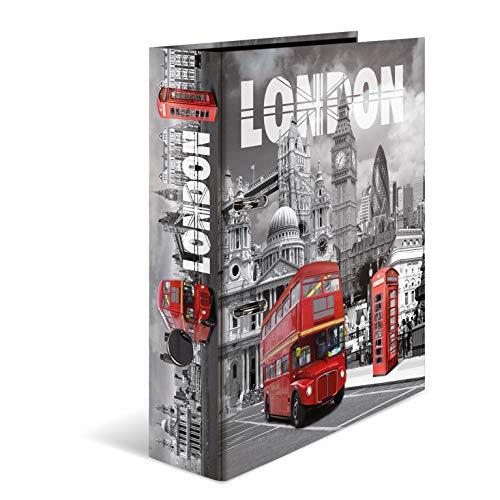 HERMA 7172 Motiv-Ordner DIN A4 Trendmetropolen London, 7 cm breit aus stabilem Karton mit Städte Innendruck, Ringordner, Aktenordner, Briefordner, 1 Ordner