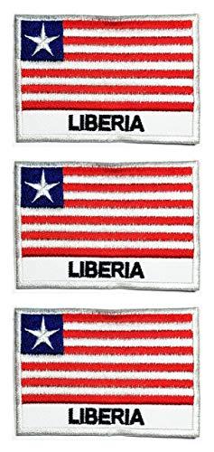 ONCEX Aufnäher Liberia-Flagge, bestickt, zum Aufbügeln oder Aufnähen, 4,3 x 6,6 cm, 3 Stück