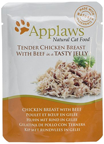Applaws Katze Beutel, Huhn mit Rind in Gelee, 16er Pack (16 x 70 g)