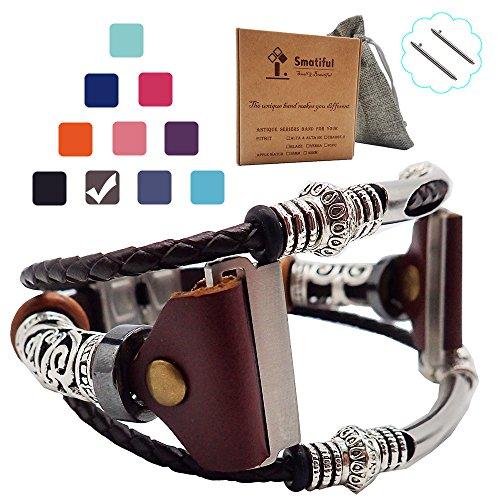 Smatiful Uhr Armband Zubehör für Damen und Herren, Verstellbar Leder Ersatz Sport Watch Band for Fitbit Blaze, Braun